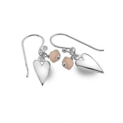 Rose Quartz and Sterling Silver Heart Drop Earrings