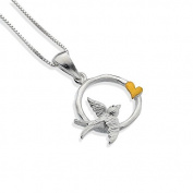 Round Sterling Silver Pendant with Flying Swallow and Gold Heart