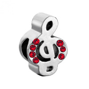 MYD Jewellery January Birthstone Red Crystal Music Note Metal Slider Bead European Charms Bracelet Fit Pandora