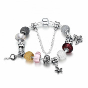 Clasp charm bracelet Toogle T Crystal Plated silver sterling 925 High quality novelty jewellery Flowers key and butterfly White May Women gift low price