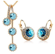 PRESKIN Noble Jewellery | great turquoise stones combined with sparkling rhinestones | XL Necklace + Pendant + Earrings Brisur