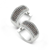 Velini, ladies brown and white loop earrings EA6991, 925 sterling silver, micro pave setting, AAA quality, 140 cubic zirconia stones, shines like diamonds