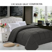 Elegant Comfort Luxurious Goose Down Alternative Double Fill Comforter (Duvet Insert), Full/Queen, Grey