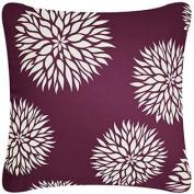 Wabisabi Green Dahlia Decorative Modern Organic Cotton Square Throw Pillow Cover, 46cm by 46cm , Plum Purple