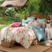 Ttmall Twin Full Queen Size 100%cotton 3-pieces Green Yellow Pink Blue Peony Flowers Floral for Girls Printed Duvet Cove