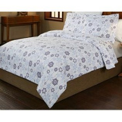 Pointehaven 3-Piece 200 GSM Flannel Duvet Cover Set, King/California King, Printed, Snow Drop