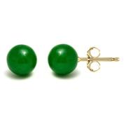 Pori 14k Gold Green Jade Ball Stud Earrings