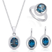 Dolce Giavonna Gift Box Sterling Silver London Blue Topaz Earring, Necklace, Ring, or Jewellery Set