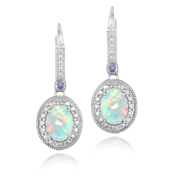 Glitzy Rocks Sterling Silver Created Opal, Amethyst and Diamond Dangle Earrings (I-J, I2-I3) 7/8 carat TGW
