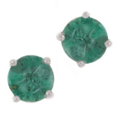 Marquee Jewels 14k White Gold Round Emerald Stud Earrings