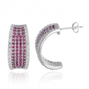Glitzy Rocks Sterling Silver Created Gemstone J Hoop Earrings