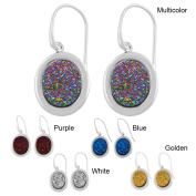 Fremada Rhodium-plated Sterling Silver Oval Druzy Dangle Earrings