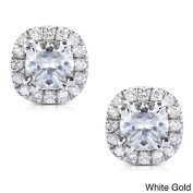Annello 14k Gold Moissanite and 1/5 ct TDW Halo Diamond Earrings