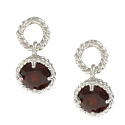 La Preciosa Sterling Silver Garnet Braided Earrings