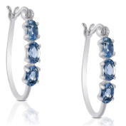 Dolce Giavonna Sterling Silver London Blue Topaz Hoop Earrings