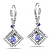 Miadora Sterling Silver Tanzanite and Diamond Accent Earrings