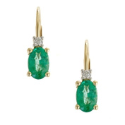 Anika and August 10k Yellow Gold Oval-cut Emerald and Diamond Accent Earrings