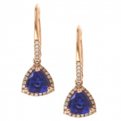 Anika and August 14 Rose Gold Trillion-cut Tanzanite and 1/4ct TDW Diamond Earrings
