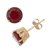 David Tutera 10k Gold Garnet 1/6ct TDW Diamond Crown Stud Earrings