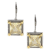 14k Gold and Silver Yellow Cubic Zirconia and Marcasite Earrings