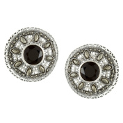 MARC Sterling Silver Black Onyx and Marcasite Round Stud Earrings