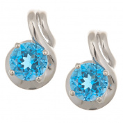 Anika and August Sterling Silver Swiss Blue Topaz Earrings