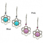 M.V. Jewels Jason Dow Silver Quartz Doublet and Sapphire Earrings