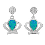 La Preciosa Sterling Silver Blue Opal and Cubic Zirconia Earrings