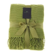Legacy Decor Green Moss Grass Colour Flannel Throw Blanket with Fringe