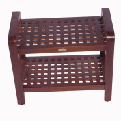 46cm Teak Grate Stool with Shelf with Lift Aide Arms- For shower, bath, sauna, living, or outdoors