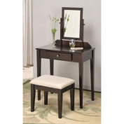 Contemporary Vanity Set with Adjustable Mirror and Stool in Espresso Finish