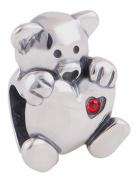 Teddy Bear Charm Bead holding a heart - 925 Sterling Silver - fits Pandora, Biagi & Troll etc
