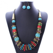Earring Necklace Set Women Turquoise Pendant Bronze Tone Cluster Chain