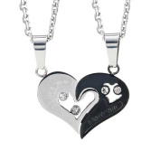 Stunning 2pcs His & Hers Couples Gift Heart Pendant Love Necklace Set for Lover Valentine 48cm & 50cm Chain