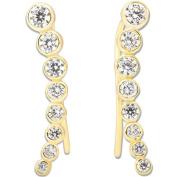 La Preciosa Sterling Silver Cubic Zirconia Ear Crawler Climber Earrings