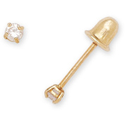 14k Yellow or White Gold 2mm Cubic Zirconia Screwback Earrings