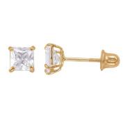 14k Gold Square Cubic Zirconia 4mm Screw-back Stud Earrings