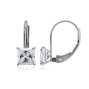 Icz Stonez 14k Gold 5mm 1.5ct Square Cubic Zirconia Leverback Earrings