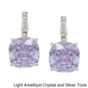 City by City City Style Goldtone or Silvertone Champagne or Purple Crystal Earrings