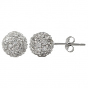 Sterling Silver Pave Cubic Zirconia Ball Stud Earrings