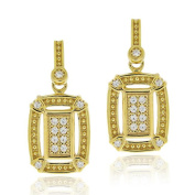 Icz Stonez 18k Gold over Silver Micro Pave Cubic Zirconia Rectangular Earrings