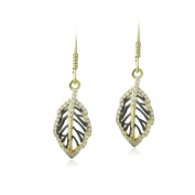 Icz Stonez 18k Gold over Silver Cubic Zirconia Leaf Earrings