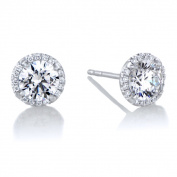 18K White Gold Diamond Halo And 6 mm CZ Stud Earrings