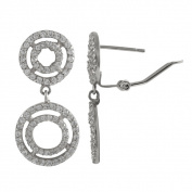 Sterling Silver Cubic Zirconia Concentric Circles Dangle Earrings