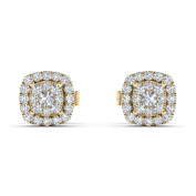De Couer 10k Yellow Gold 1/4ct TDW Diamond Halo Cluster Earring