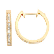 David Tutera 10k Gold .44ct TDW Diamond Round Cut Channel-set Hoop Earrings