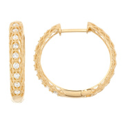 David Tutera 10k Gold .72ct TDW Diamond Round Cut Channel-set Hoop Earrings