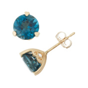 David Tutera 10k Yellow Gold London Blue Topaz Diamond Accent Stud Earrings