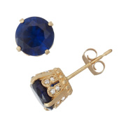 David Tutera 10k Yellow Gold Created Sapphire 1/6ct TDW Diamond Crown Stud Earrings