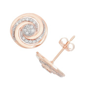 David Tutera 10k Rose Gold .19ct TDW Diamond Round Cut Swirl Stud Earrings